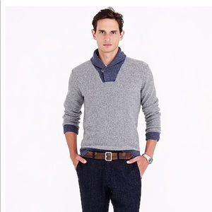 J Crew. Lambswool Shawl Collar Sweatshirt Size Med